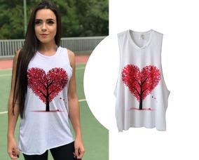 1a03c20f8f Camiseta Regata Feminina Cavada Árvore Coração Blusa Estampa