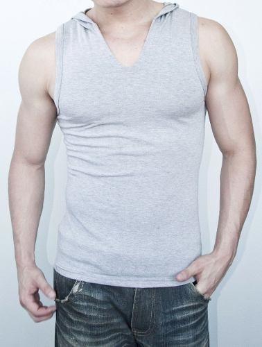 d4a3fabbaa Camiseta Regata Gola V Com Capuz Masculina Em Viscolycra - R  35