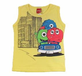 682c40a3c3 Camiseta Regata Infantil Monsters Amarela Criança - Kyly