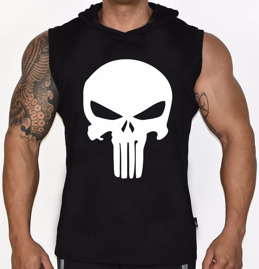 93ab766fd9968 camiseta regata machão capuz caveira justiceiro academia. Carregando zoom.