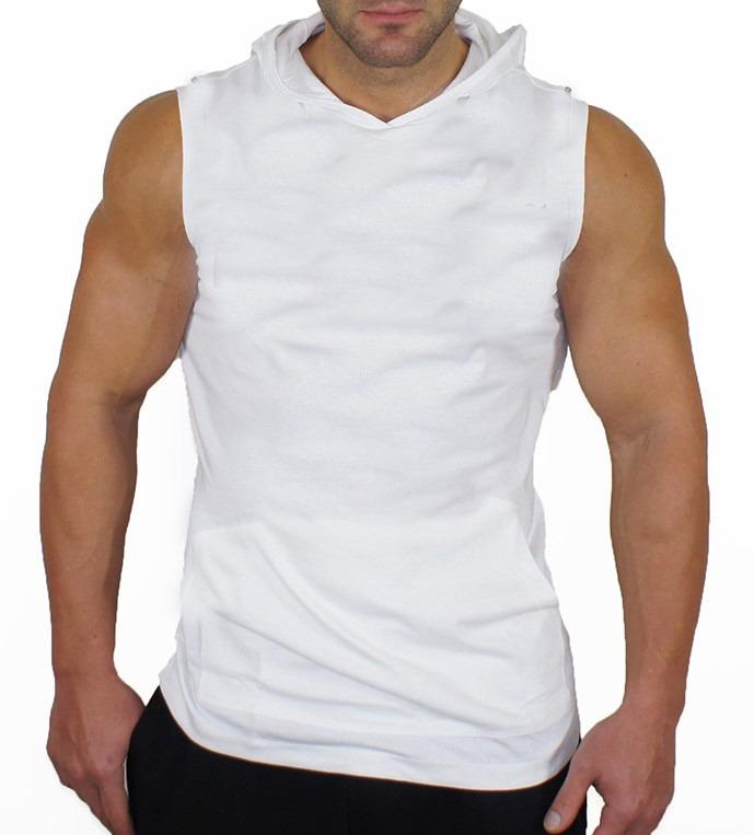 2bea95bba Camiseta Regata Machão Com Capuz Lisa Branca 100% Algodão - R  25