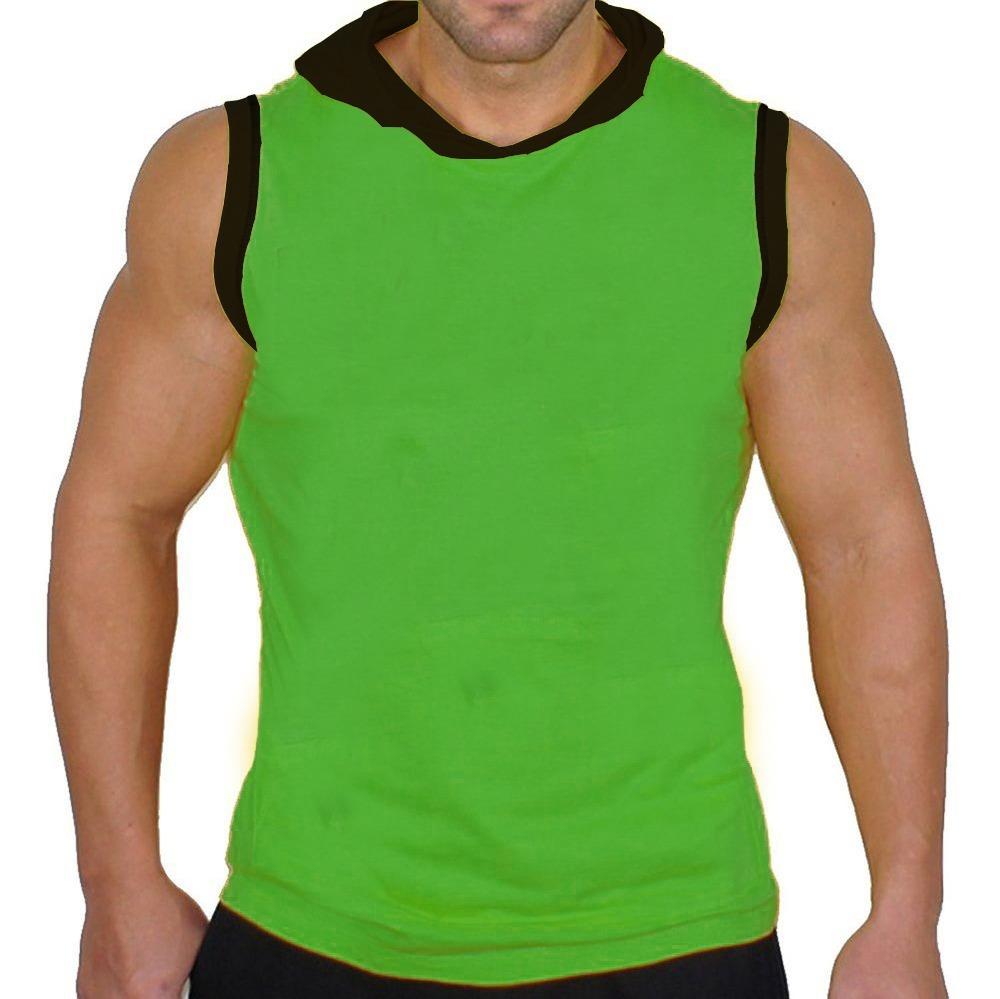 3e14a64fffab1 camiseta regata machão com capuz lisa verde e preta. Carregando zoom.