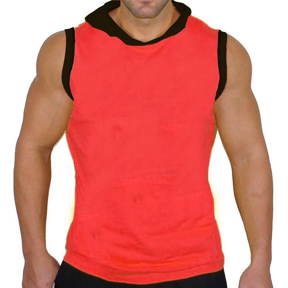 0ab18beb9df80 camiseta regata machão com capuz lisa vermelha 100% algodão. Carregando  zoom.
