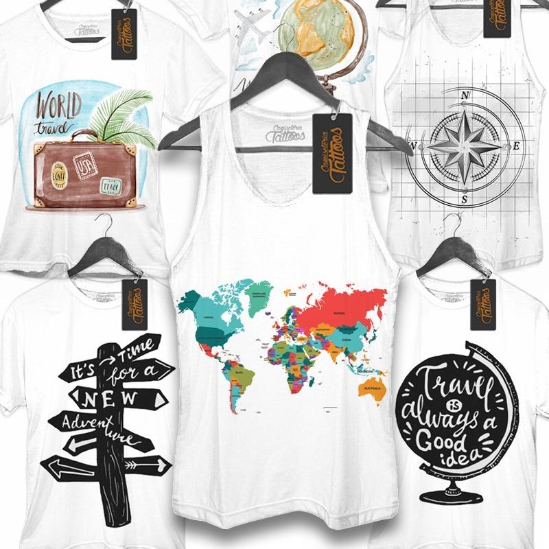 Camiseta Regata Mapa Mundi Mundo Viagem World Travel Camping - R  44 ... 6b4469898de