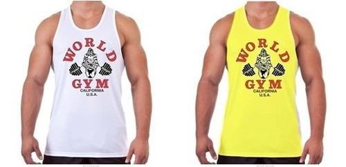 camiseta regata musculação world gym