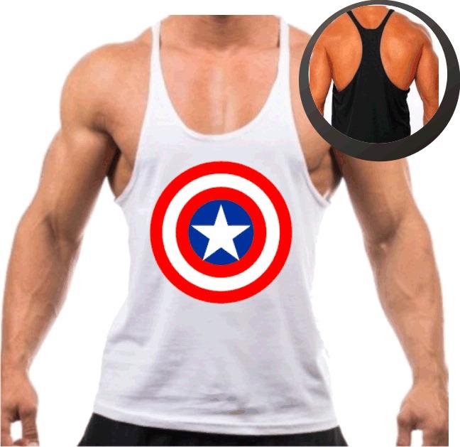 1f028f0b1aa94 Camiseta Regata Super Cavada P  Musculação Capitão América - R  26 ...