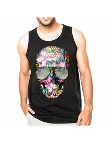 0d346b4866 Regata Masculina Caveira E Flores - Camisetas e Blusas no Mercado ...