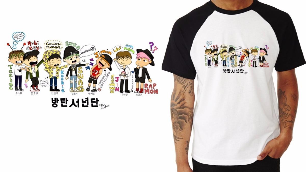 Desenho De Camisa: Camiseta Reglan Kpop K-pop Banda Bts Desenho Colorido