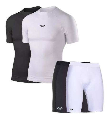 camiseta remera témica + calza adulto running mvdsport