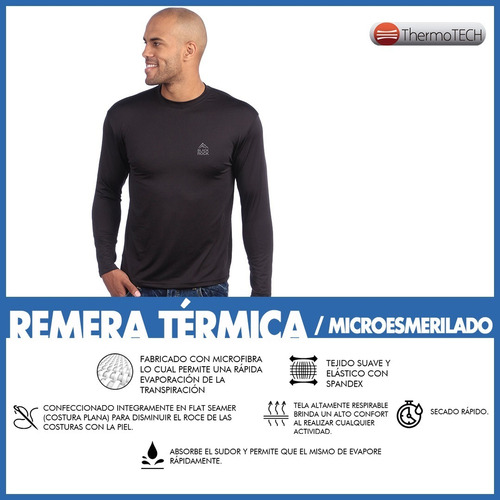 camiseta remera térmica frizada black rock