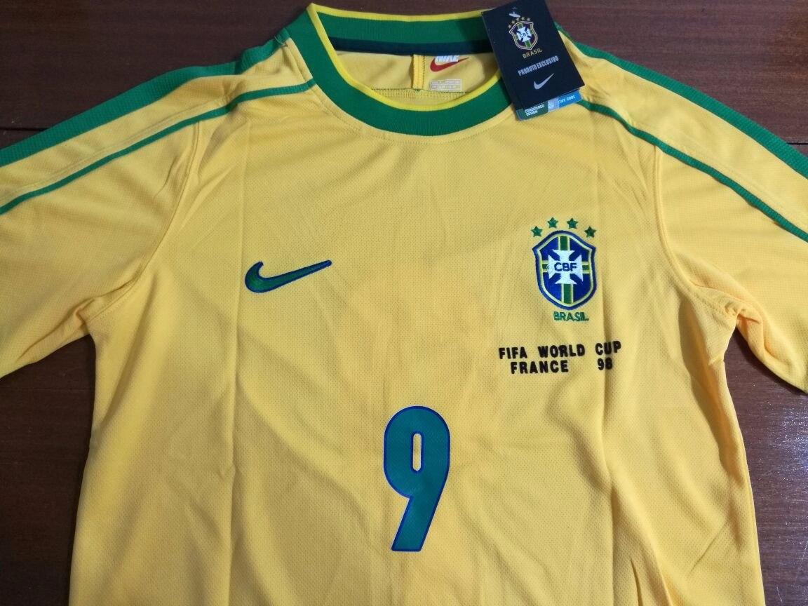 68ac9ede2 camiseta retro brasil antigua mundial 1998 ronaldo original. Cargando zoom.