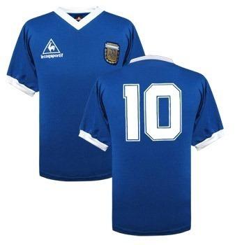 camiseta retro maradona 86 azul vs inglaterra