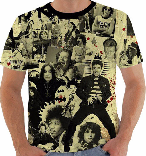 camiseta rock and roll elvis ozzy hendrix joplin morrison