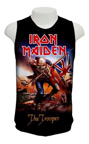 camiseta rock iron maiden the trooper - regata