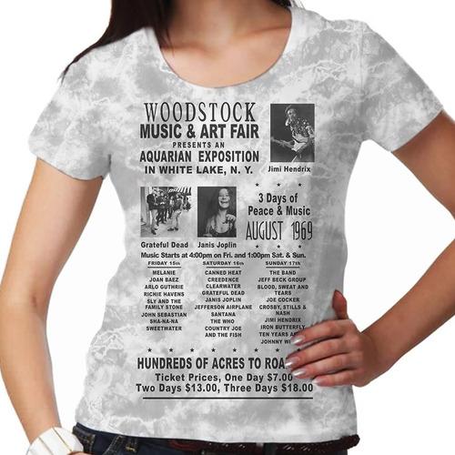 camiseta rock woodstock 1969 b&w feminina