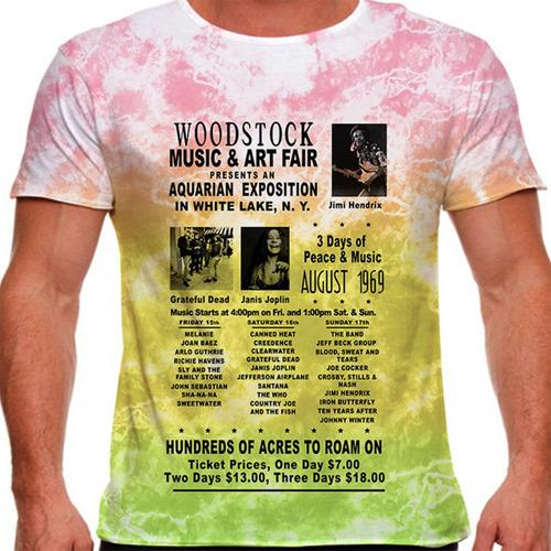 camiseta rock woodstock 1969 tie dye masculina