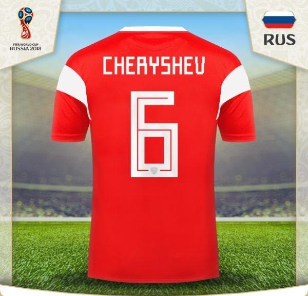 225f208f49739 Camiseta Rusia 2018 Original 6 Cheryshev Mundial -   1.788