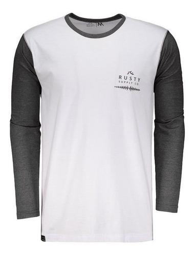 camiseta rusty clean manga longa chumbo mescla e branca