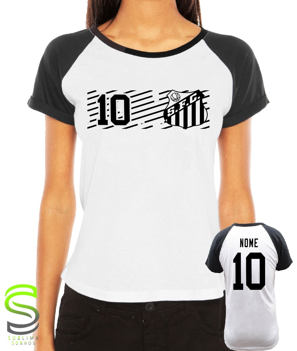 7782e4db5eb59 camiseta santos feminina personalizada. Carregando zoom.