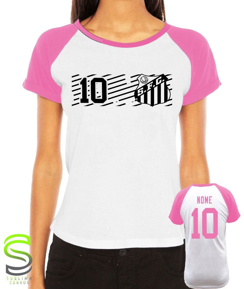 e2e2871ad8e71 camiseta santos feminina personalizada rosa. Carregando zoom.