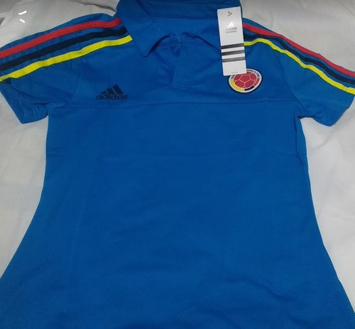 camiseta selección colombia dama polo  azul y blanca
