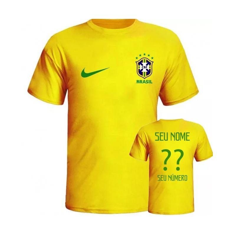 ebb3f417db Camiseta Seleção Brasileira Personalizada Com Seu Nome - R  39