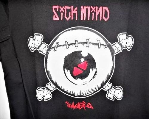 camiseta sick mind eye bones preta skate punk rock wear