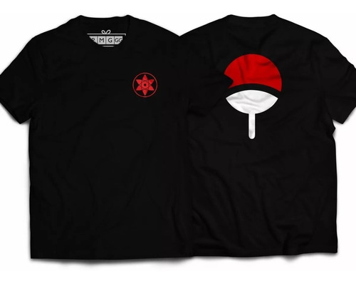 camiseta simbolo clã uchiha sharingan sasuke estampa costas