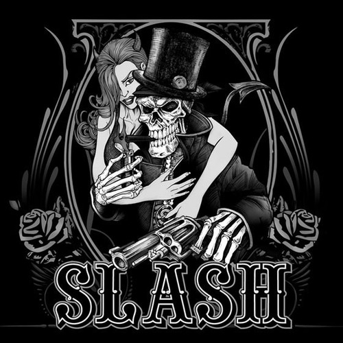 camiseta slash skull and girl stamp