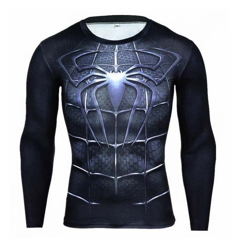 camiseta spiderman negro manga larga slim fit