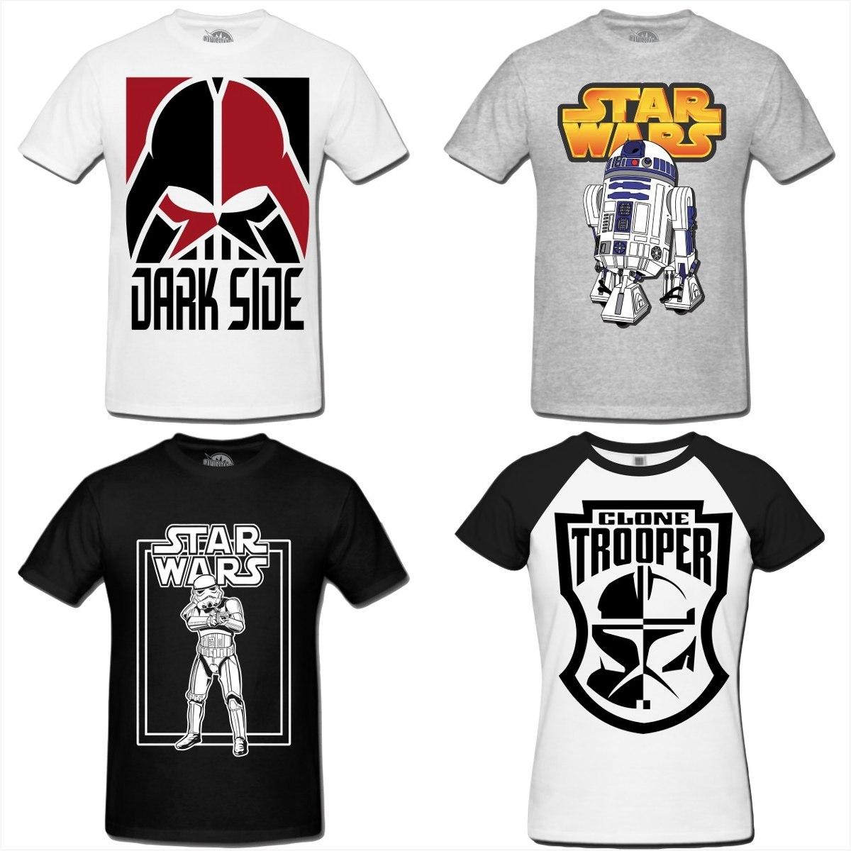 Camiseta Star Wars Clone Storm Trooper Jedi Yoda Darth Vader - R  44 ... 349bb8eea92a8
