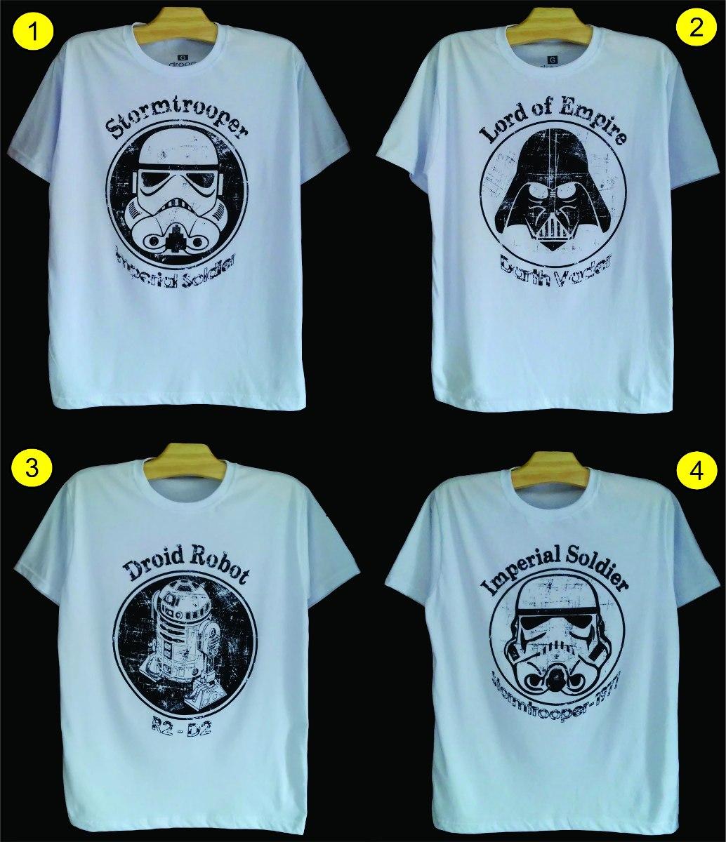 ab8887b06 camiseta star wars exclusiva - stormtrooper darth vader r2d2. Carregando  zoom.