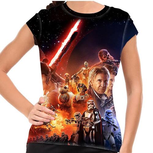 camiseta star wars o despertar da força baby look
