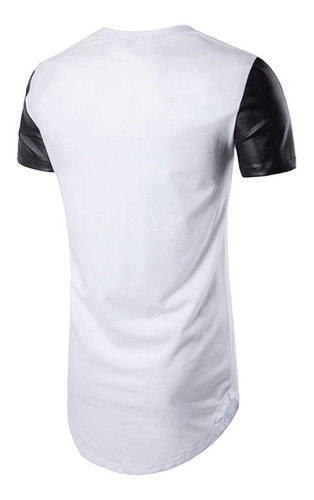 camiseta stecchi detalhe estilo couro cirrê