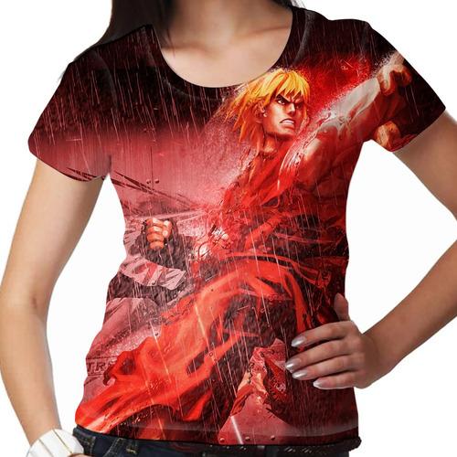 camiseta street fighter ken feminina