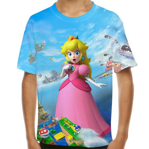 camiseta super mario princesa peach infantil
