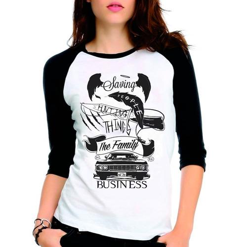 camiseta supernatural spn saving people raglan babylook 3/4