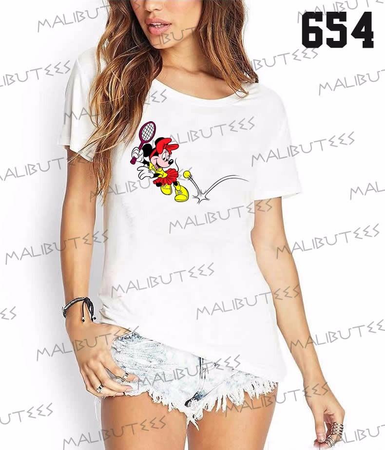 camiseta t-shirts feminina fashion minnie jogando tênis. Carregando zoom. a8c7061fc1a25