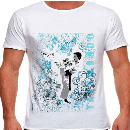 camiseta tae kwon do high kick masculina