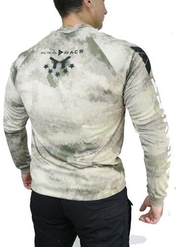 camiseta tática speed pistola longa camuflada atacs au dacs
