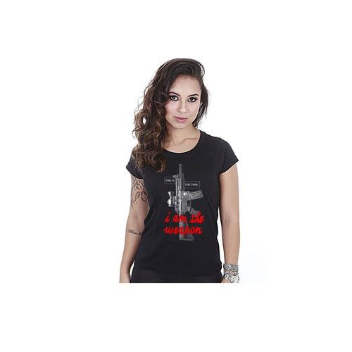 camiseta team six baby look feminina i am the tool preta