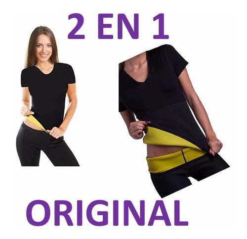 camiseta termica hot tonifica suda baja reduce medidas 2 en1