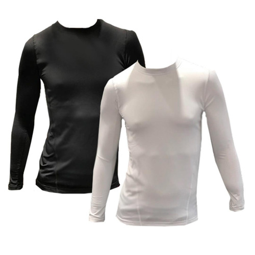 camiseta térmica manga larga hombre adultos negro o blanco