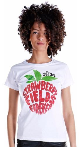 camiseta the beatles strawberry fields forever feminina