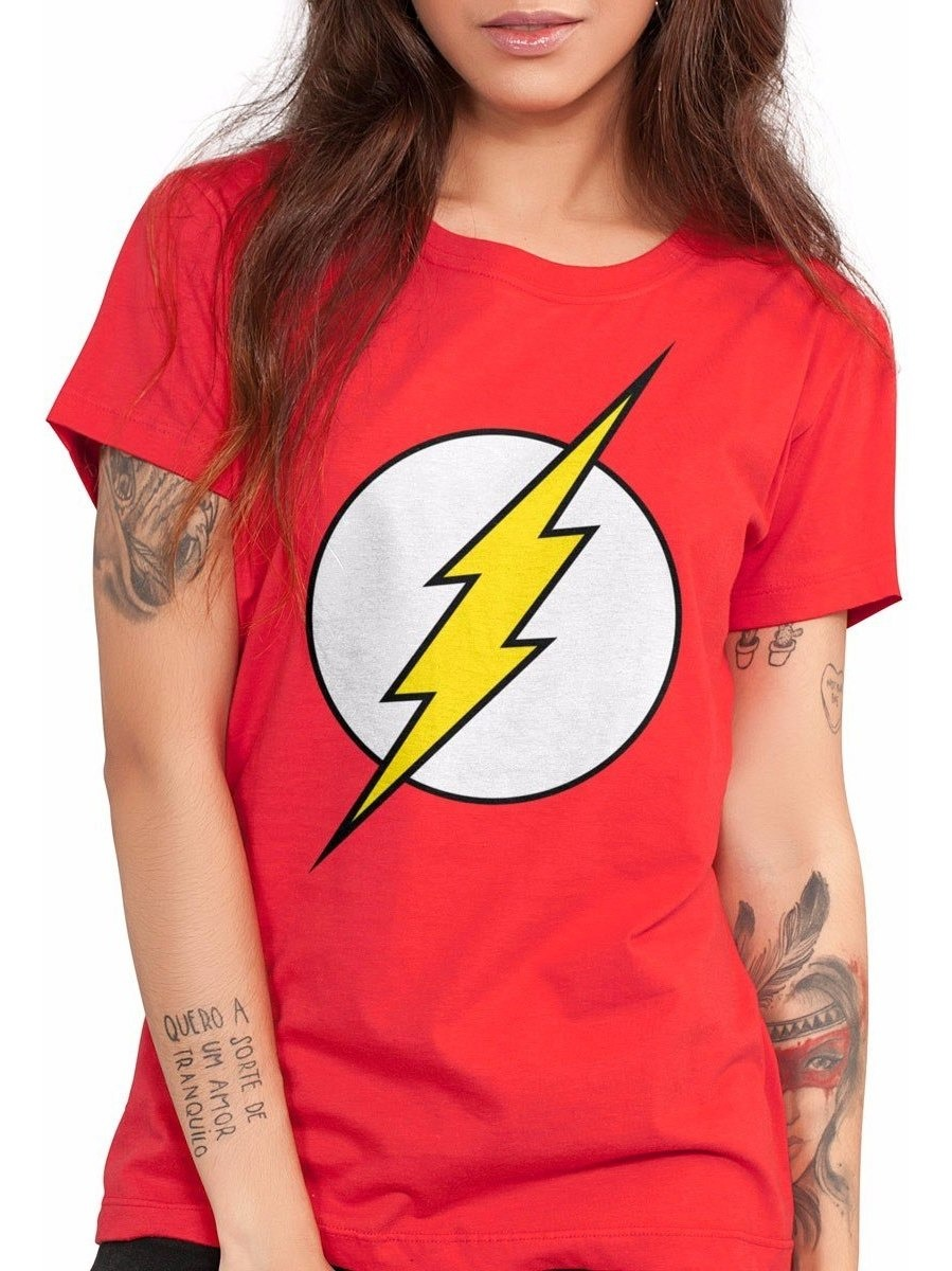 9d2236d176 camiseta the flash logo feminina dc comics bandup. Carregando zoom.