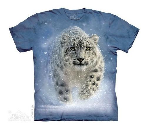 camiseta the mountain 3d - 100% algodão - leopardo da neve