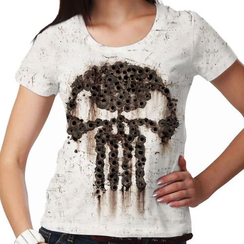 camiseta the punisher bullet feminina