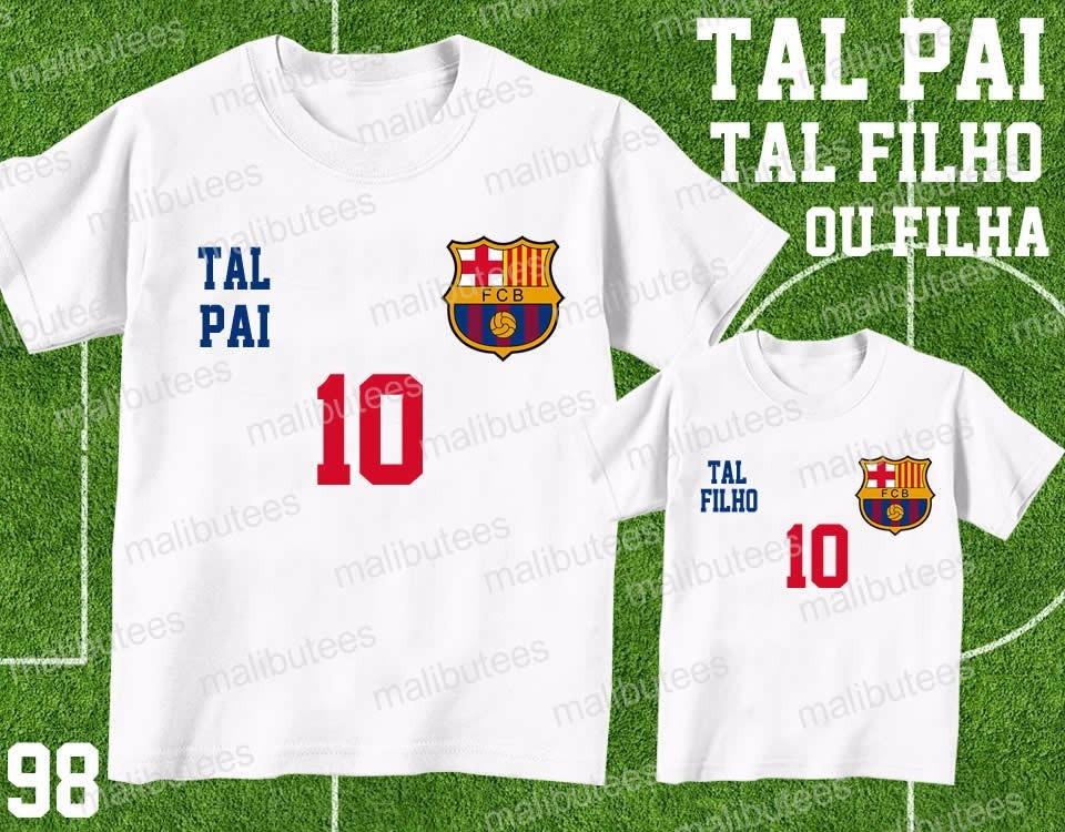 Camiseta Time Futebol Barcelona Tal Pai Tal Filho(a) Kit - R  59 4149a2121887d