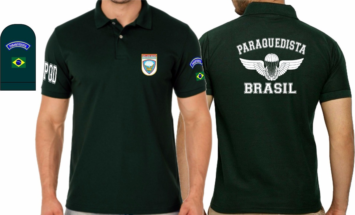 04a421874 camiseta tipo polo paraquedista pqd exército militar alusiva. Carregando  zoom.