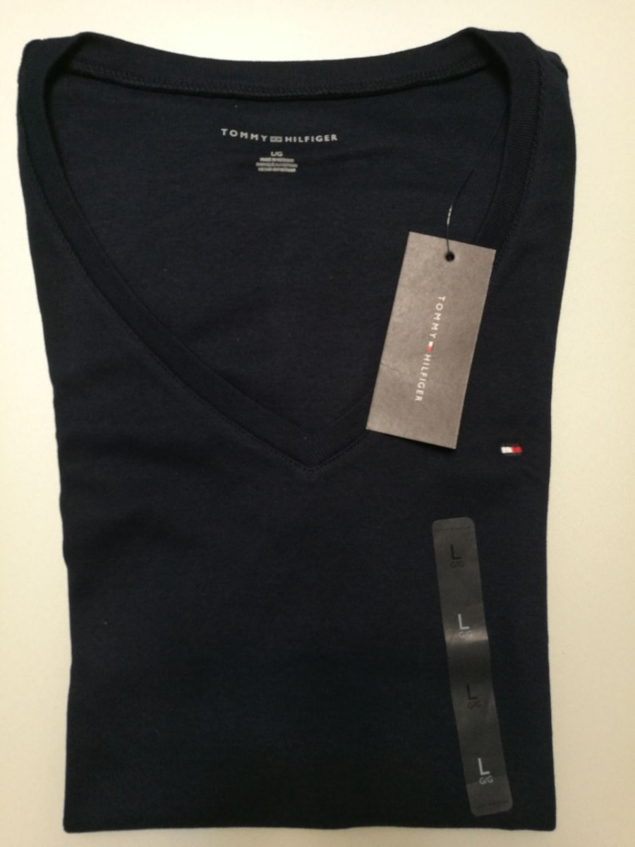 Camiseta Tommy Hilfiger Gola V - 100% Algodão - G - Original - R  98 ... b3fb91c54f5cf